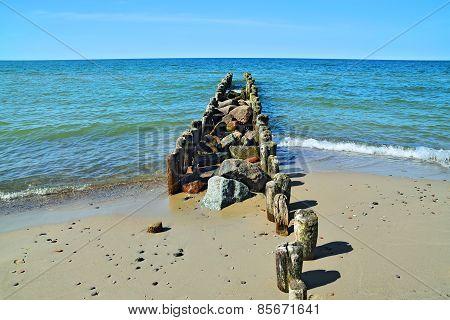 Baltic Beach And Breakwater