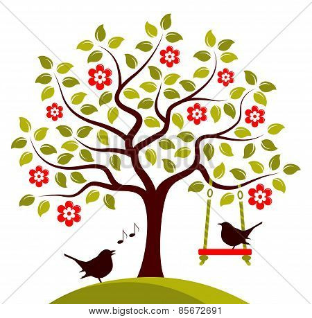 Flowering Tree And Birds