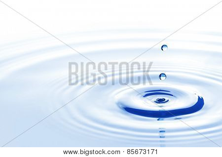 Blue water drops falling down close up