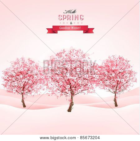 Landscape with blooming sakura trees. Vector.