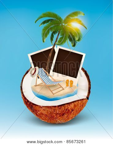 Vacation concept. Palm tree, photos and beach chair in a coconut. Vector.