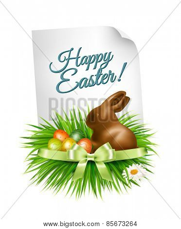 Happy Easter background. Colorful easter eggs and chocolate bunny. Vector.