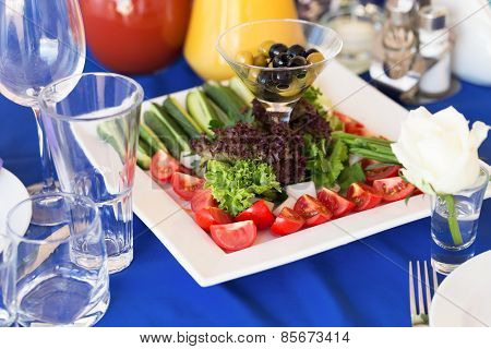 Party Vegetables Board On A Table