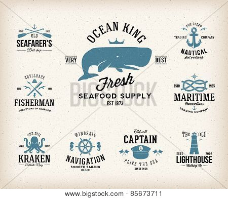 Vintage Nautical Labels or Design Elements With Retro Textures and Typography Anchors Steering Wheel