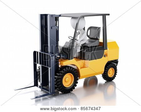 3d white people driving a forklift truck.