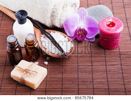Spa Still Life With Hand Made Soap  And Aroma Oils