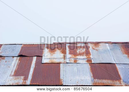 Close Up A Rusty Corrugated Iron Metal Sheet