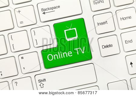 White Conceptual Keyboard - Online Tv (green Key)