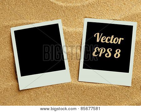 Summer like retro style empty polaroid photo cards lying on a sea sand. Sunny summer background. Vector illustration EPS 8.