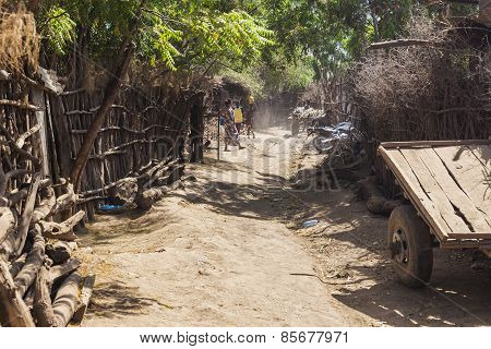 Street In Traditional Village Of Dassanech Tribe. Omorato, Ethiopia.