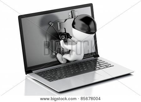 3d Laptop with Safe Door. Data security concept.