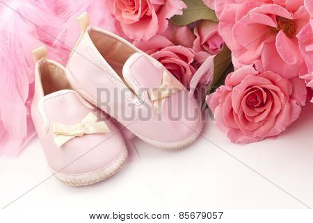 Pink Baby Shoes And Roses