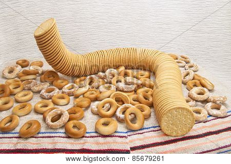 Still Life Of Pastries And Bagels.