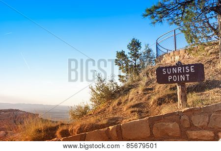 Sunrise Point Of Bryce Canyon National Park In The Very Morning. Utah State, United States Of Americ
