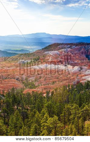 Beautiful Landscapes Of Sandstone Cliffs And Pinnacles Of Bryce Canyon National Park In Utah State,