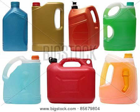 Plastic bottles from automobile oils isolated on white backgroun