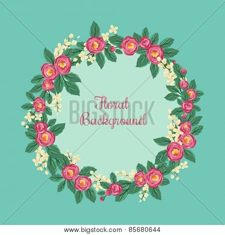 Round floral frame with roses and small blue flowers on blue background