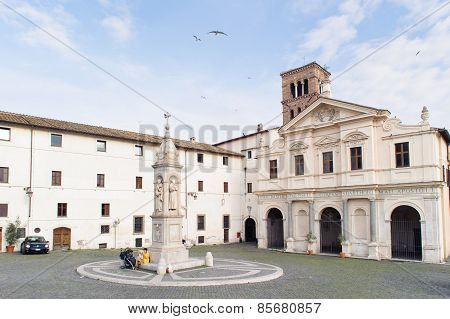 Rome, Italy - January 24, 2010: Piazza San Bartolomeo All'isola