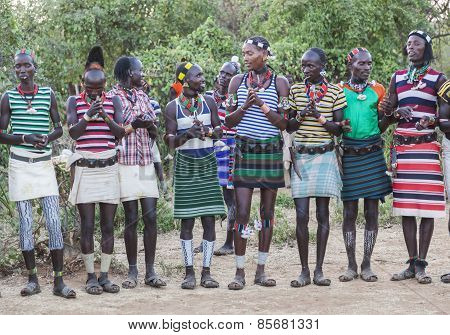 Boys And Girls At The Traditional Evangaty Ceremony. Turmi, Ethiopia