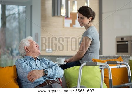 Grandfather Talking With Loved Granddaughter