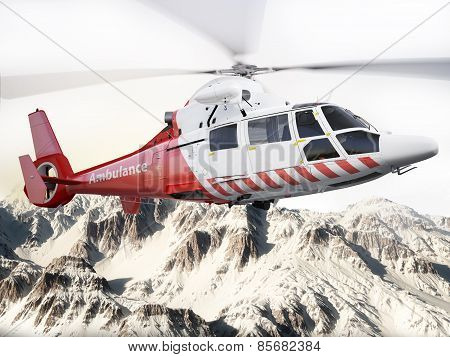Rescue helicopter in flight over snow capped mountains with motion blur blades. Photo realistic 3d s