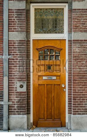Wooden Door With Stained Glass Window