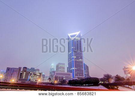 Foggy Weather Over Charlotte North Carolina Skyline