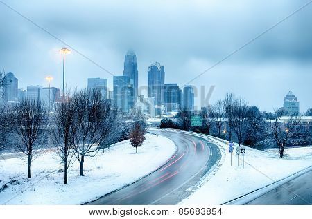 Charlotte North Carolina City After Snowstorm And Ice Rain
