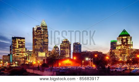 Charlotte Skyline At Dawn Hours On A Spring Evening