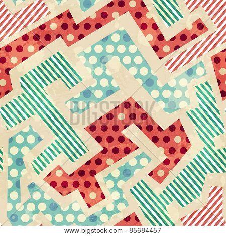 Geometric Cloth Seamless Pattern With Grunge Effect