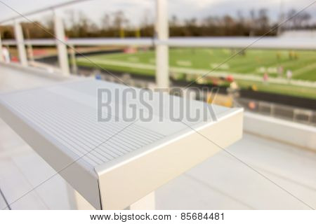 Empty Bleacher Seating In Rows, Taken In A Modern School Sports Stadium Facility