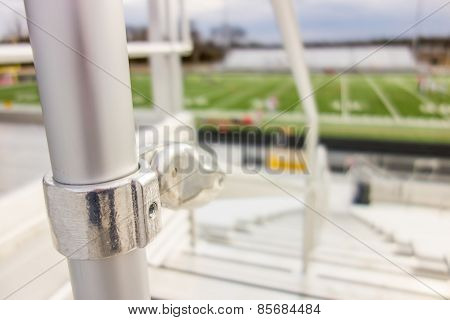 Handrail Connector At A Sports Stadium Steps