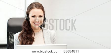office and technology concept - picture of helpline operator with laptop computer