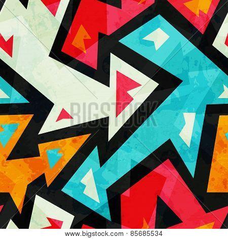 Graffiti Arrows Seamless Pattern With Grunge Effect