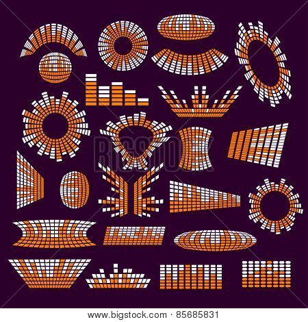 Set of music range equalizer vector design elements