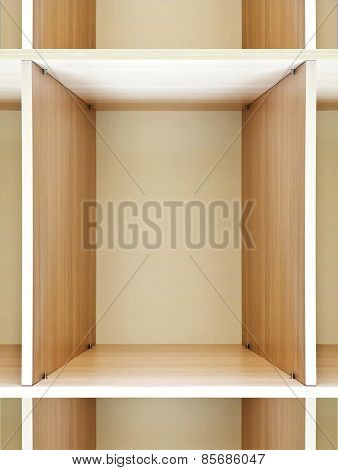 empty wooden shelving on the department store