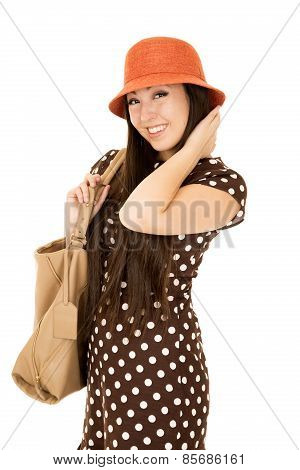 Smiling Asian American Teen Girl Wearing Brown Polka Dot Dress