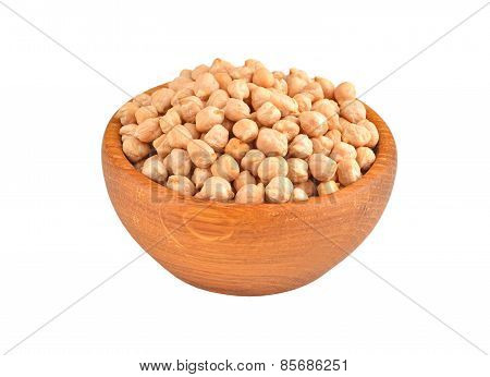 Chickpea in wooden bowl
