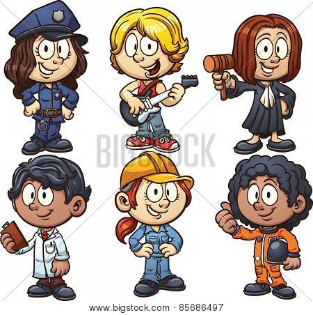 Kids using costumes for different occupations. Vector clip art illustration with simple gradients. Each on a separate layer.