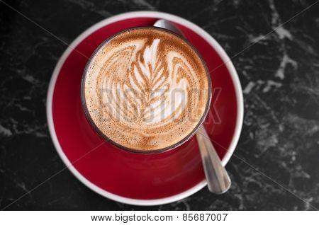 Cafe latte art and bubbles