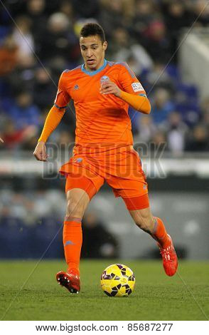 BARCELONA - FEB, 8: Filipe Augusto of Valencia CF during spanish League match against RCD Espanyol at the Estadi Cornella on February 8, 2015 in Barcelona, Spain