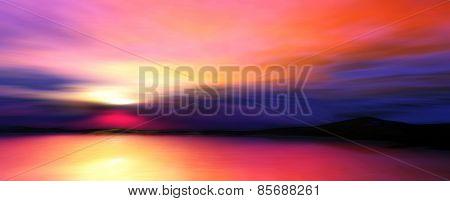 D illustration of twilight landscape