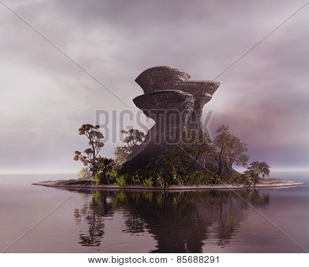 3D illustration of landscape