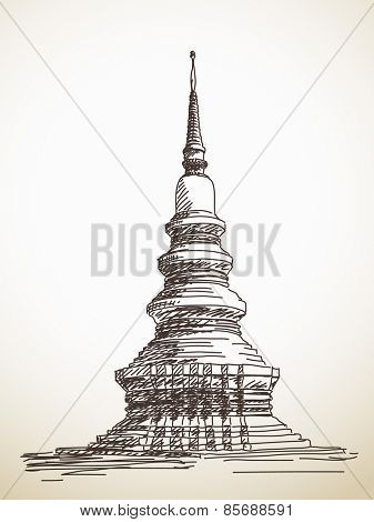 Sketch of thai stupa Chedi, Hand drawn Vector illustration