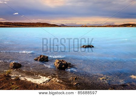 Hot water lake near Hverir geothermal area in Iceland