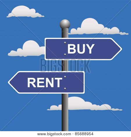 Buying, selling, two-way, street, sign