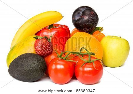 Group of fresh and organic healthy colorful attractive fruits isolated on a white background