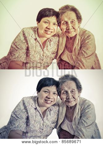 Family Portrait Of An Asian Elder Mother And Daughter Hugging In Isolated Backgroud In Retro Color