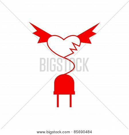 Red Wingy Heart And Plug