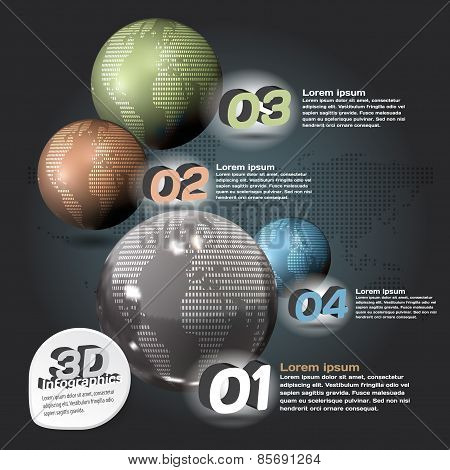 Infographics 3D Abstract With Glossy Balls With A Picture Of The